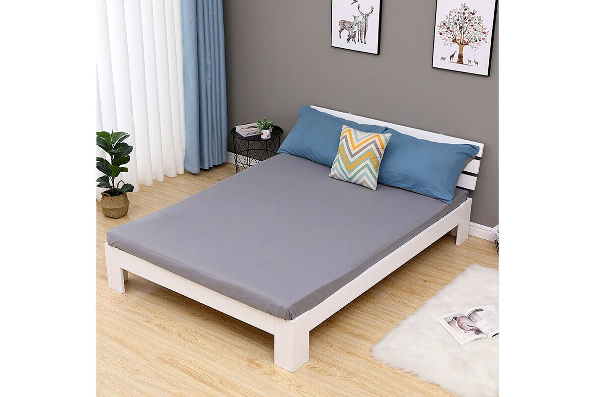 Modern Low Platform White Wooden Double Bed Frame In 2020 White
