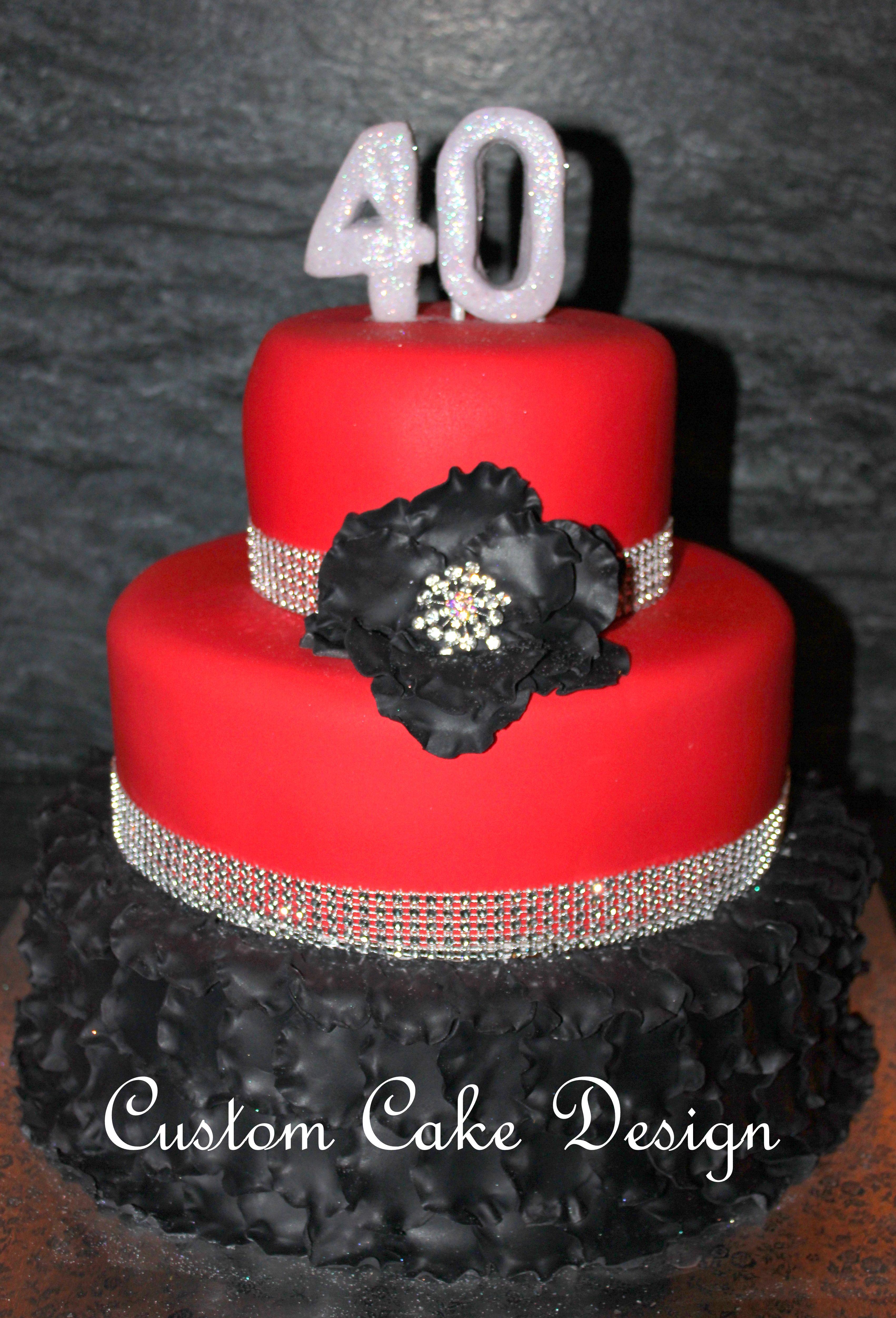Red fondant birthday cake !