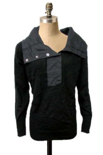 NWOT Gabriella Molinari Black High Neckline Long Sleeves Knit Layering Sweater L $29.99