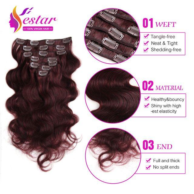 "7A Brazilian Virgin Hair Body Wave Clip In Human Hair Extensions Brazilian Body Wave Clip In Hair Extensions 7Pcs 14-24""Clip Ins"