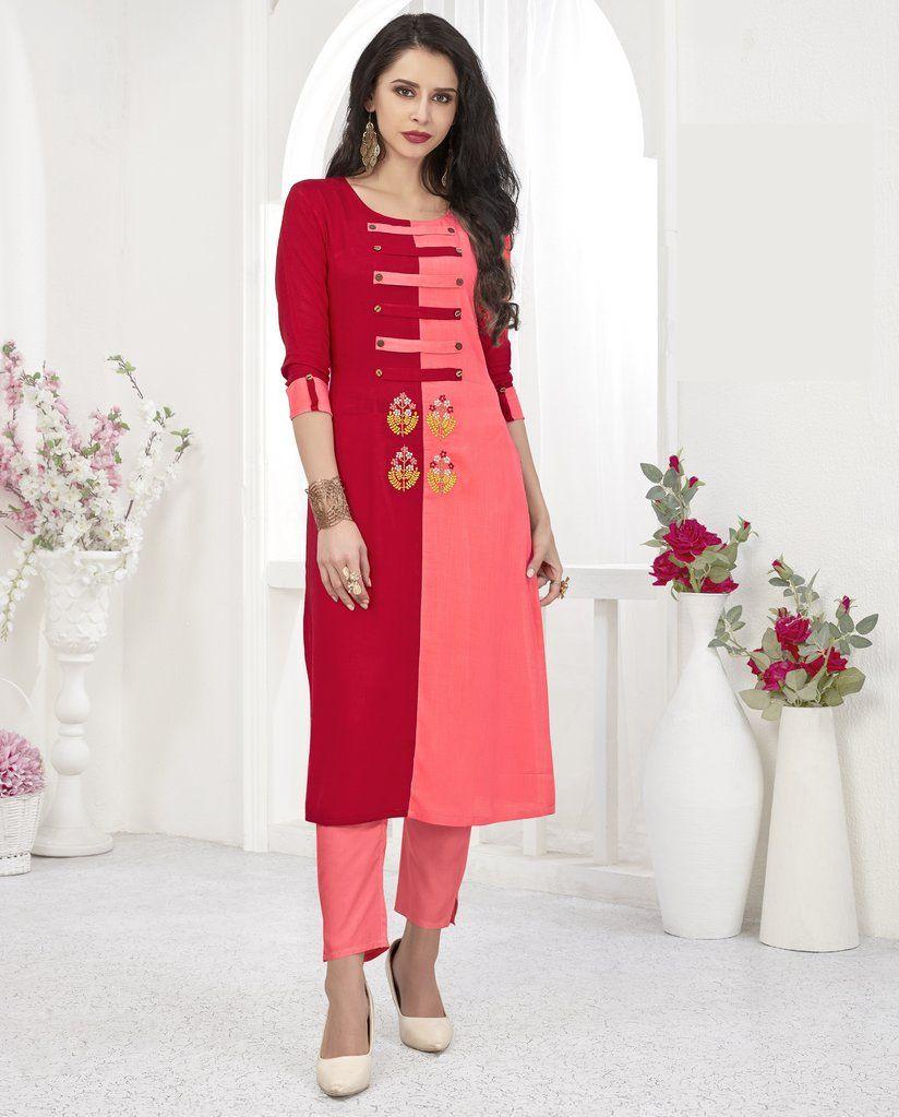 3889b1bdee6 Red Pink Embroidered Rayon Kurti  kurti  kurta  dress  tunic  womans   womens  ladies  traditional  indian  bollywood  ethnic  clothing  fashion   partywear ...