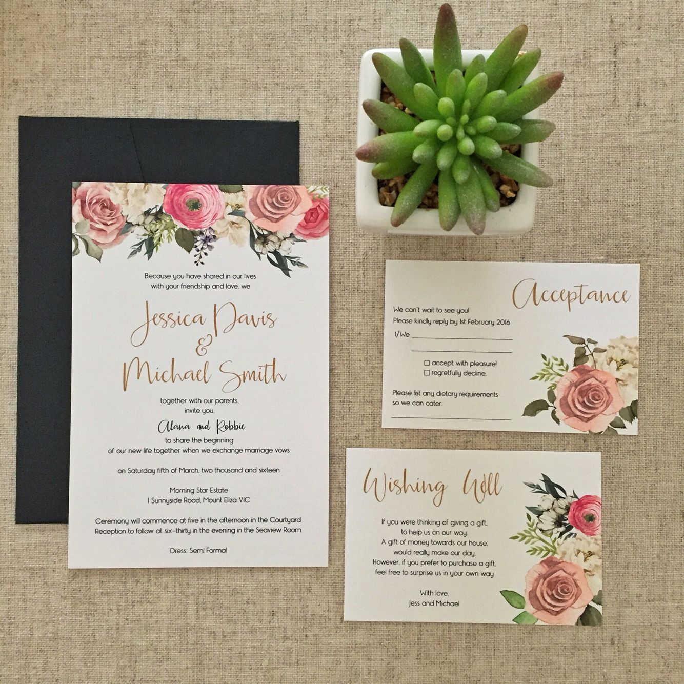 wedding reception directions card%0A Floral and gold invitation set with acceptance and wishing well card