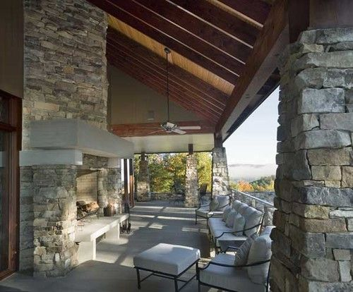 Contemporary Porch Outdoor Fireplace Design, Pictures ... on Outdoor Living 4U id=94352