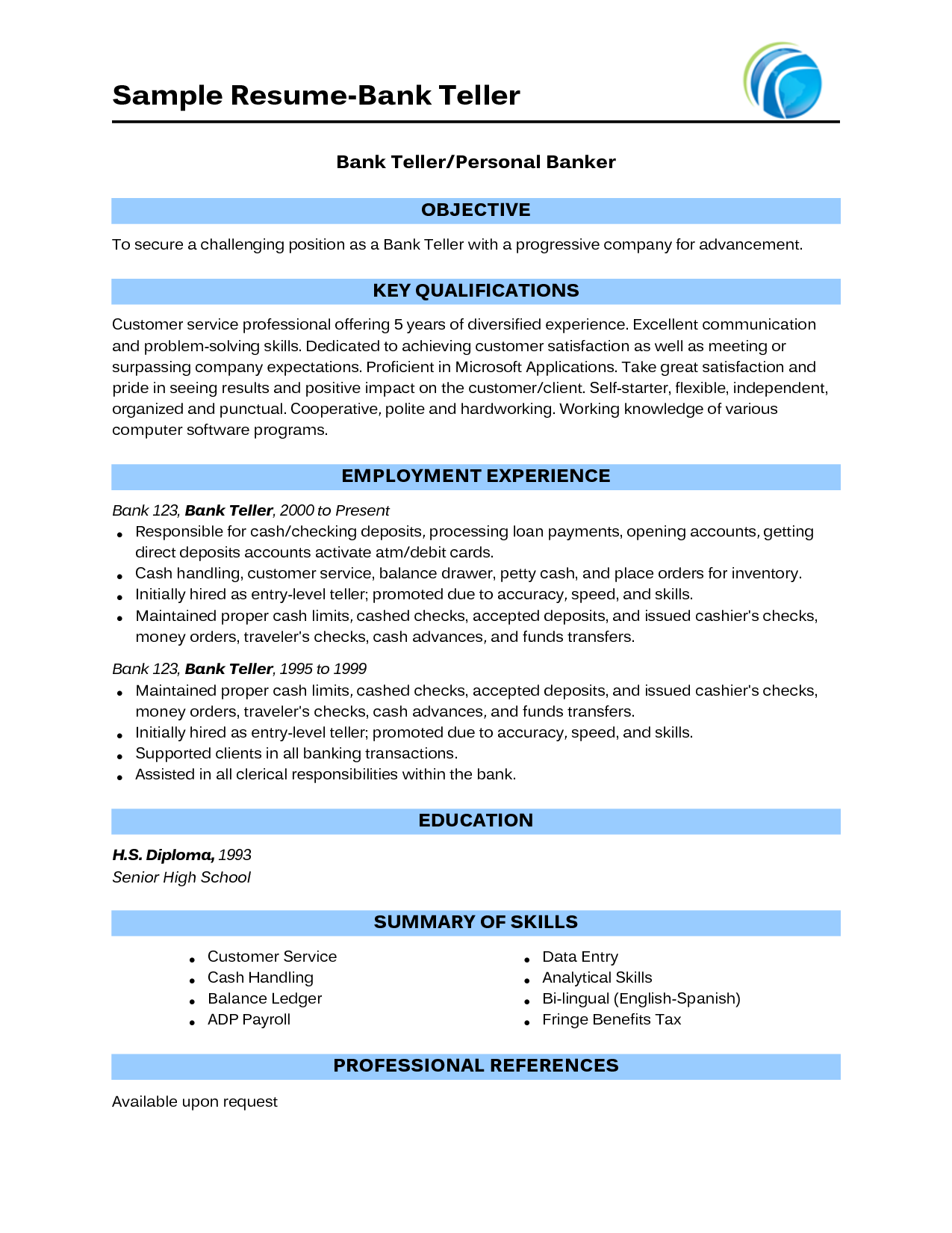 Sample Of Bank Teller Resume With No Experience http