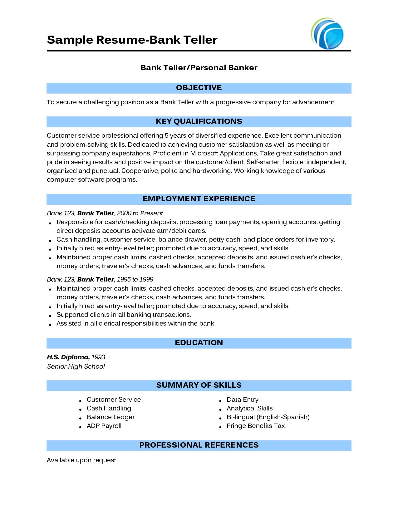 Teller Resume With No Experience Sample Resume Bank Teller Bank Teller Resume Resume No Experience Bank Teller