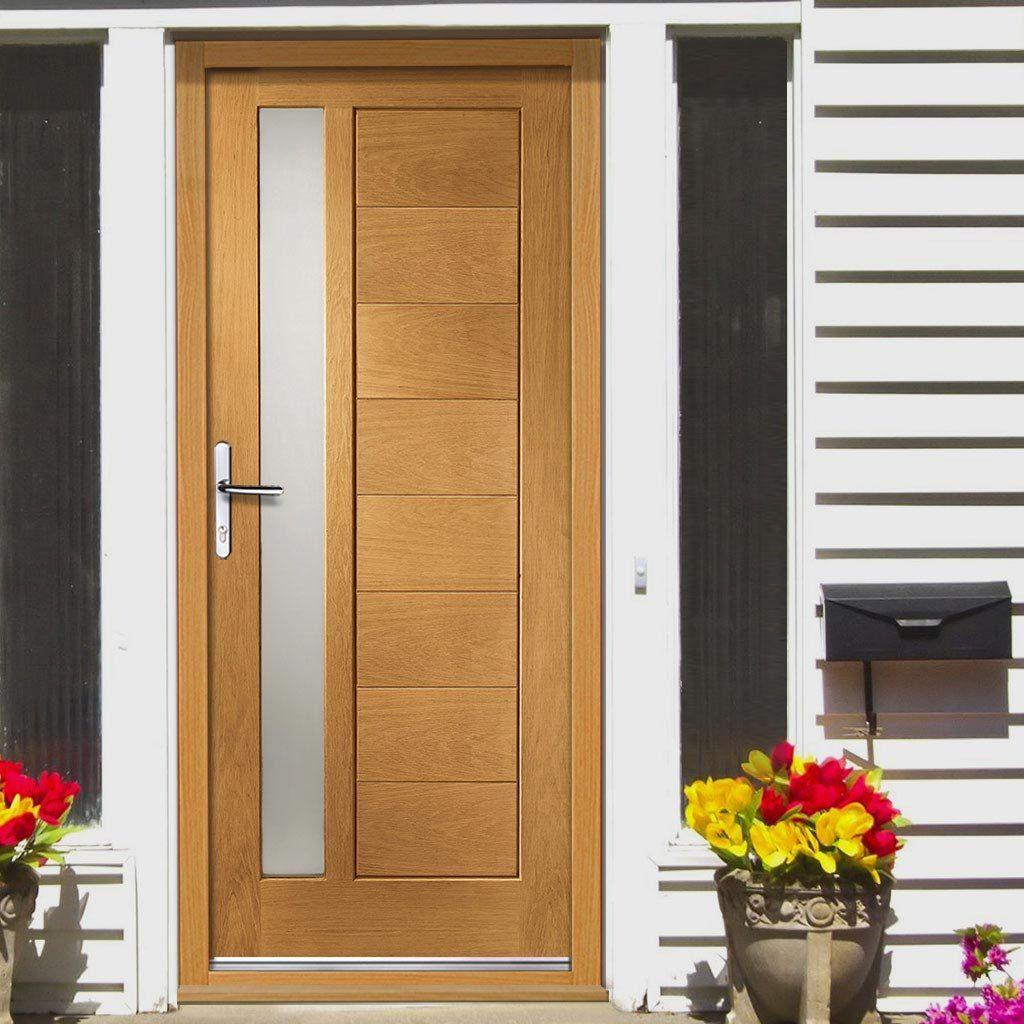 Prefinished Modena External Oak Door, Obscure Double Glazing
