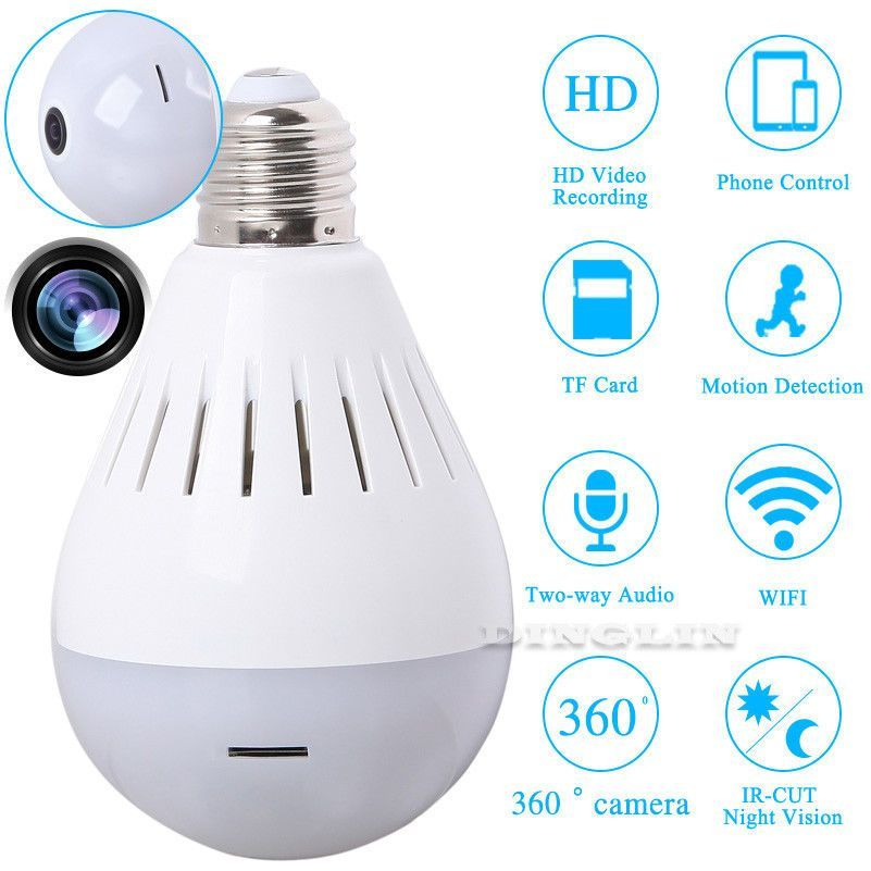 360° Panoramic Mini Spy Camera Light Bulb Home Security Hidden Wireless Infrared