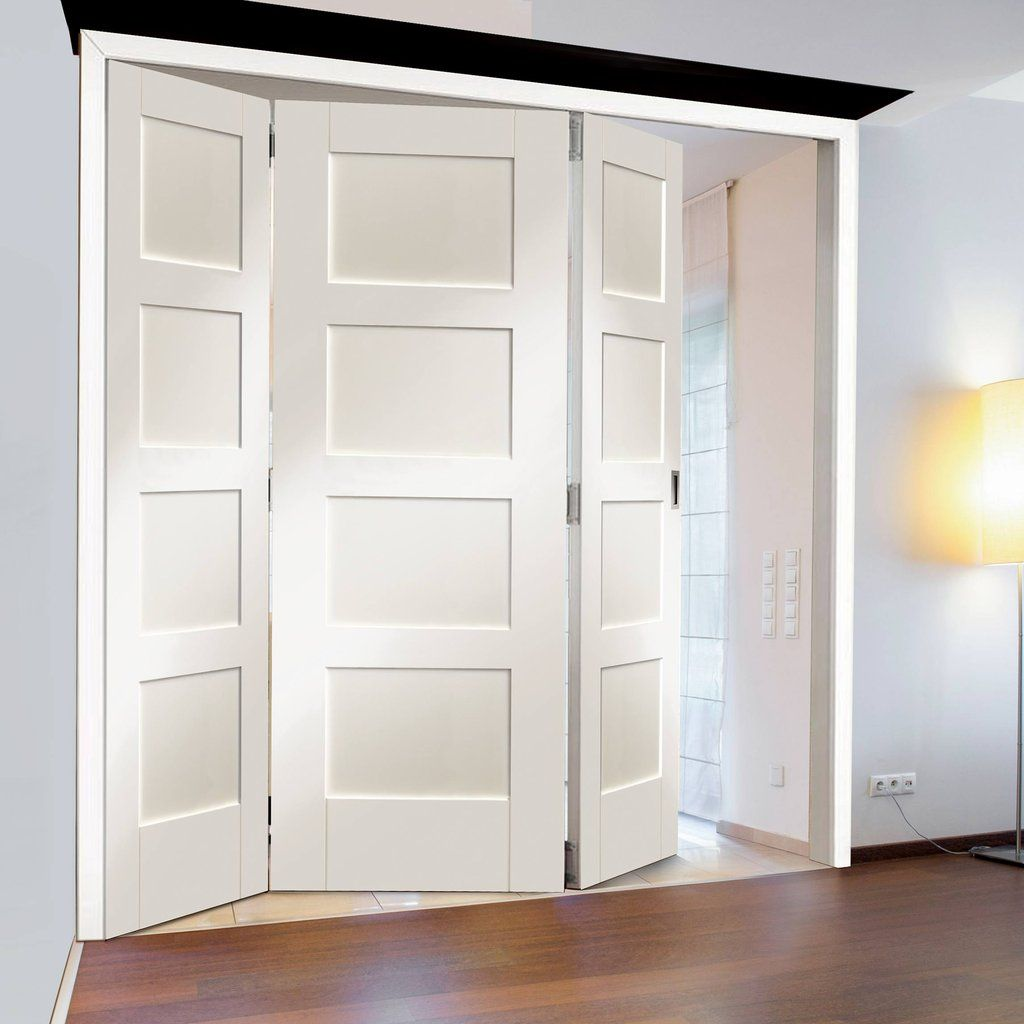 Freefold White Shaker 4 Panel Style Folding 3 Door Set Height 2090mm Width 1890mm Internal Folding Doors Room Divider Doors Doors Interior