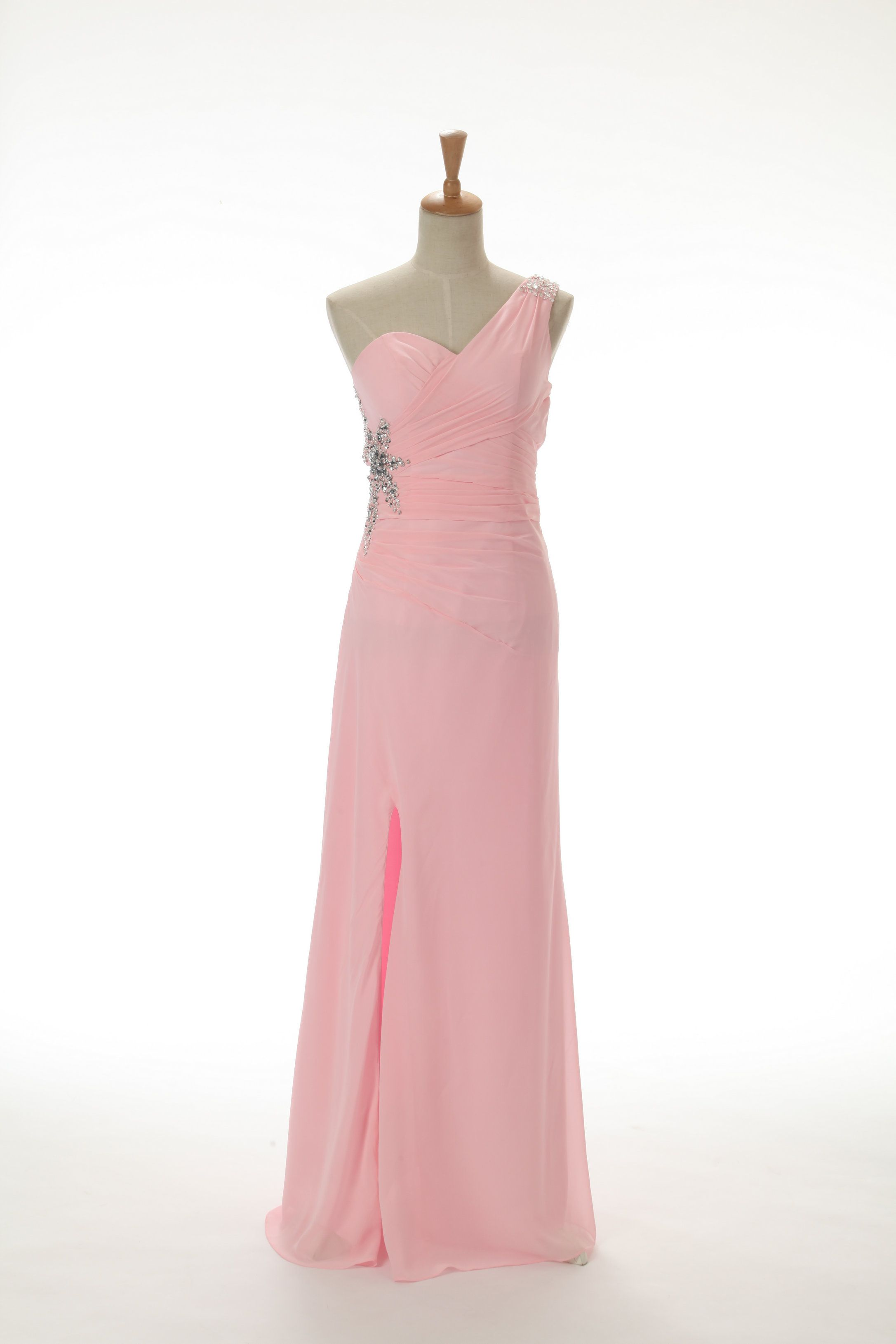New Arrival Slit-front Column Chiffon One shoulder Prom Dresses ...