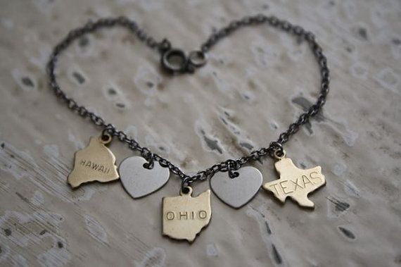 Oh the Places You'll Go Bracelet, State Charm, Travel, Long Distance, Graduation Gift on Etsy, $28.00 #ohtheplacesillgo