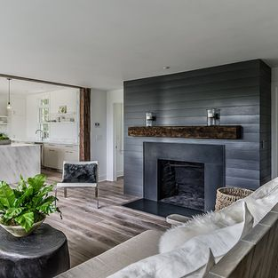 Grey Slate Fireplace Wood Mantle Design Ideas Pictures Remodel And Decor Farm House Living Room Farmhouse Fireplace Fireplace Design