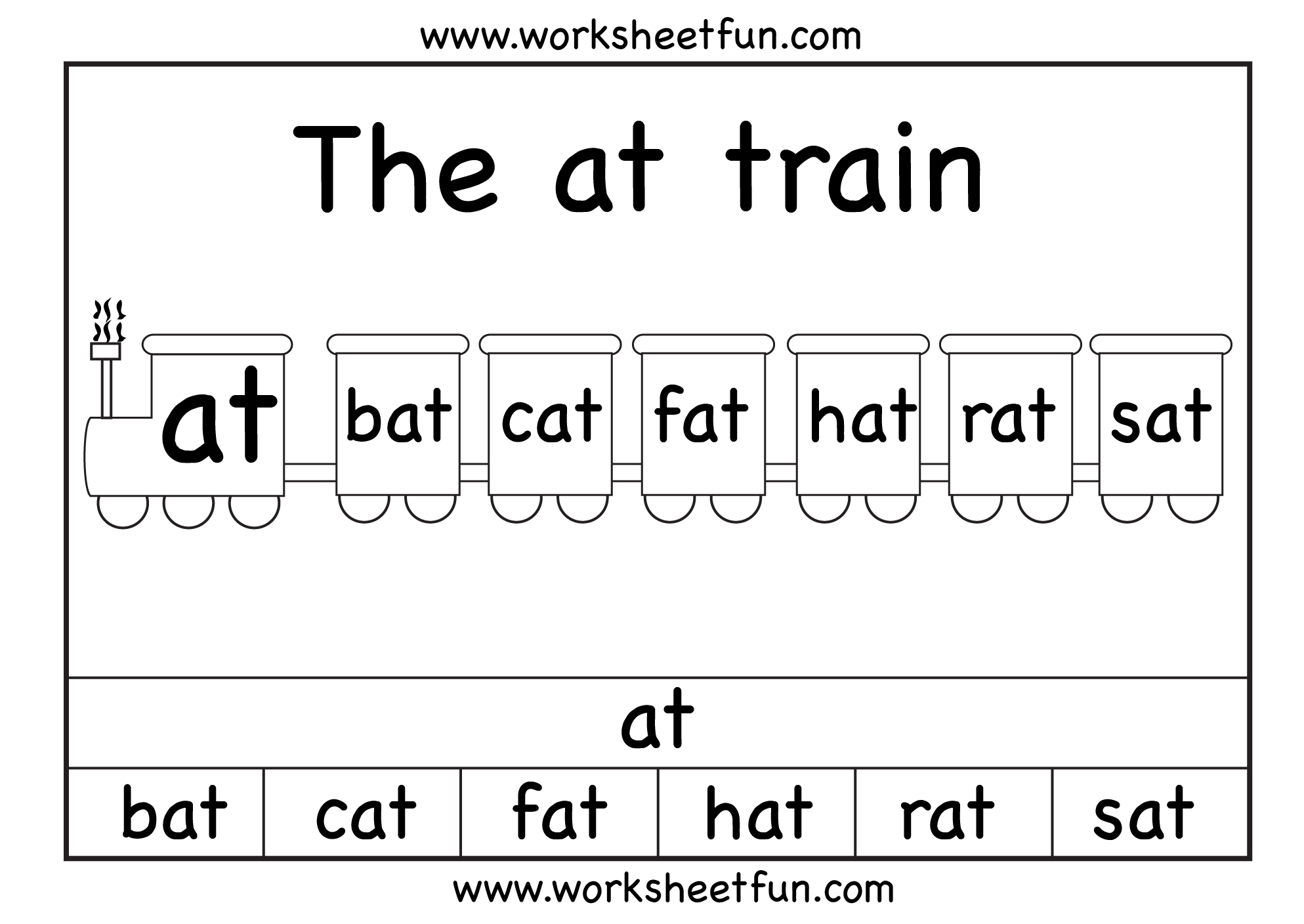 The at train – 1 Worksheet   Word family worksheets [ 1408 x 1987 Pixel ]