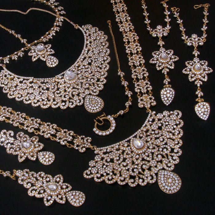 WEDDING INDIAN BRIDAL SIMULATED DIAMOND BIG STONE GOLD TONE NECKLACE