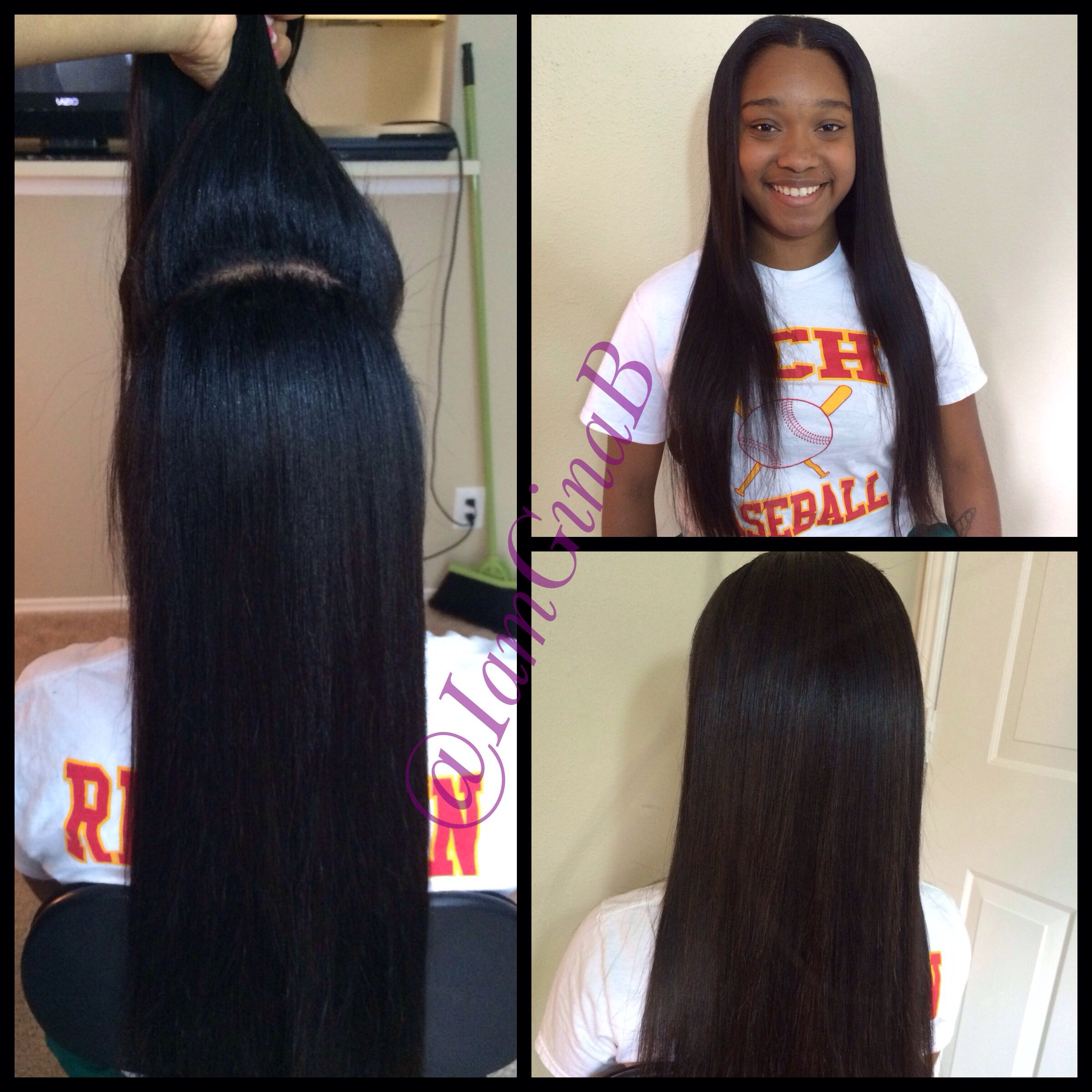 Versitile sew in Two way sew in Middle part half up half down By