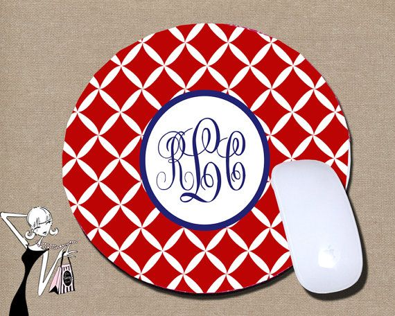 Personalized Mouse Pad Round Mouse Pad Monogram Mouse Pad Monogrammed Mouse Pad Computer Mouse Pads