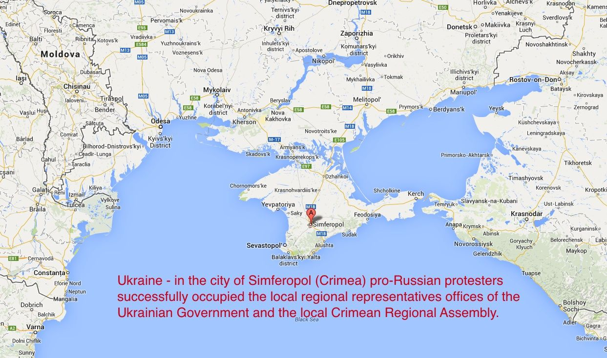 Ukraine in the city of Simferopol Crimea proRussian protesters