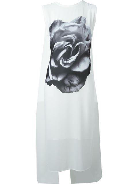 MCQ ALEXANDER MCQUEEN Rose Print Cape Dress. #mcqalexandermcqueen #cloth #dress