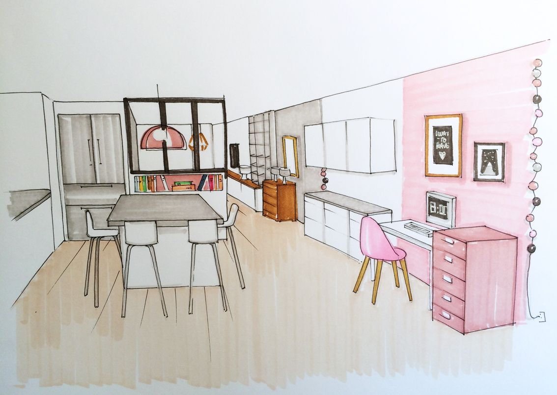 Vue de la cuisine dessin pinterest la cuisine for Dessin architecture interieur