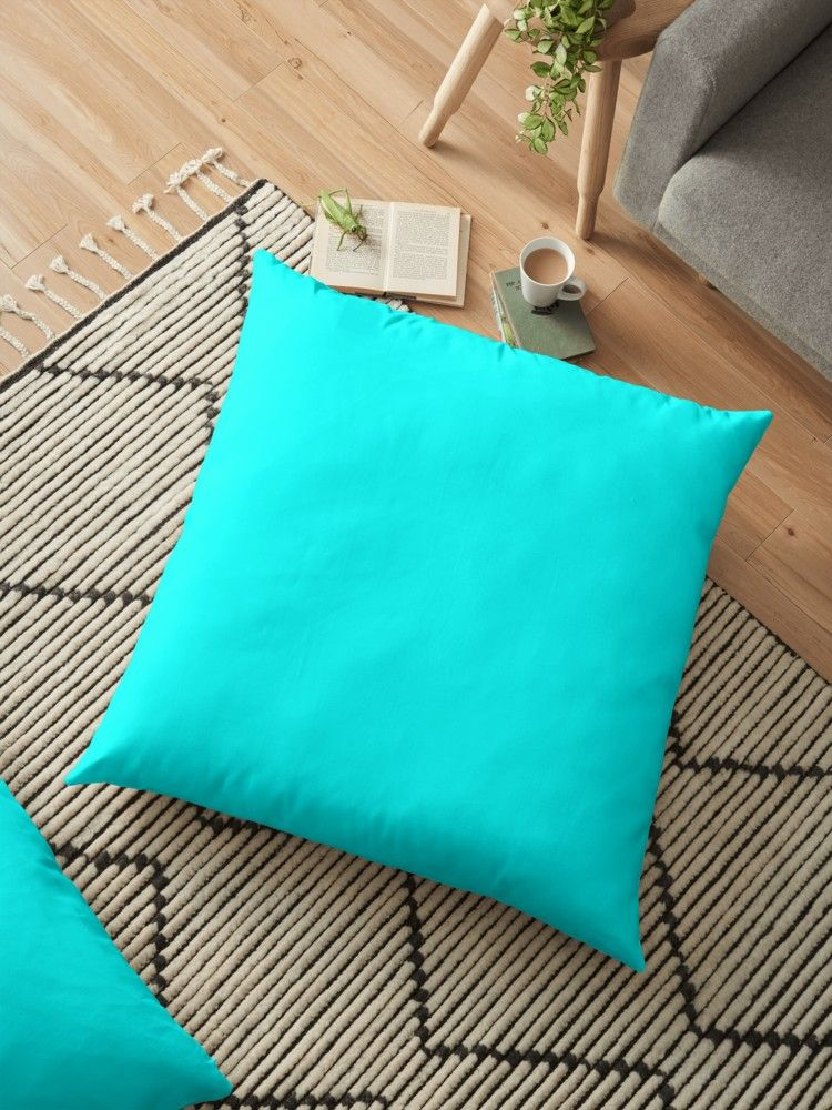 Neon Aqua Blue Bright Electric Fluorescent Color Floor Pillow