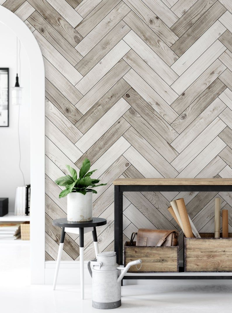 Herringbone Whitewashed Barn Wood Planks Mural Wallpaper Etsy Feature Wall Bedroom Accent Walls In Living Room Feature Wall Living Room