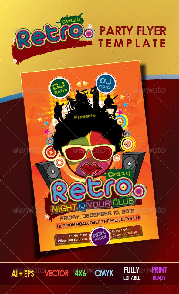 Crazy Retro Party Flyer Template | Retro Party, Party Flyer And