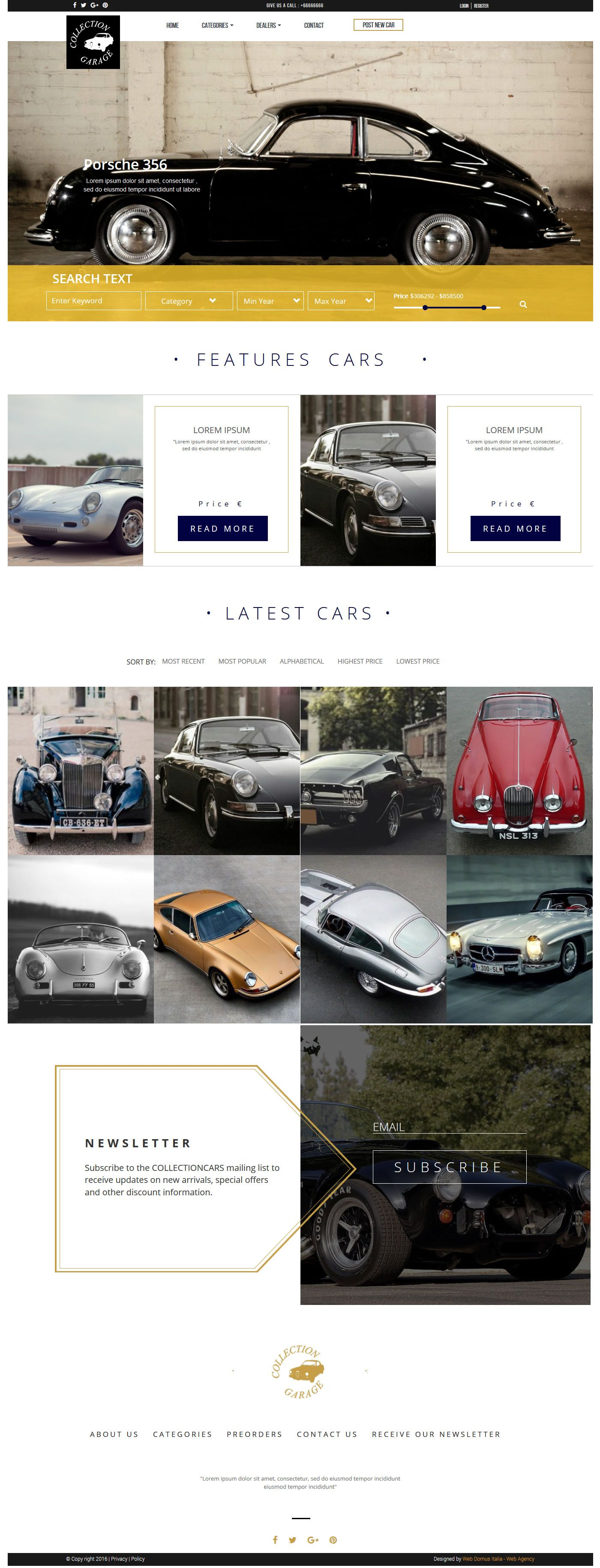Garage HTML Template includes a drop-down menu, search box with ...