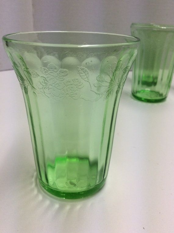 9750263537ea Items similar to 4~ Vintage Jeanette Glass Green Depression Cherry Blossom  Flat Bottom Water Tumblers on Etsy