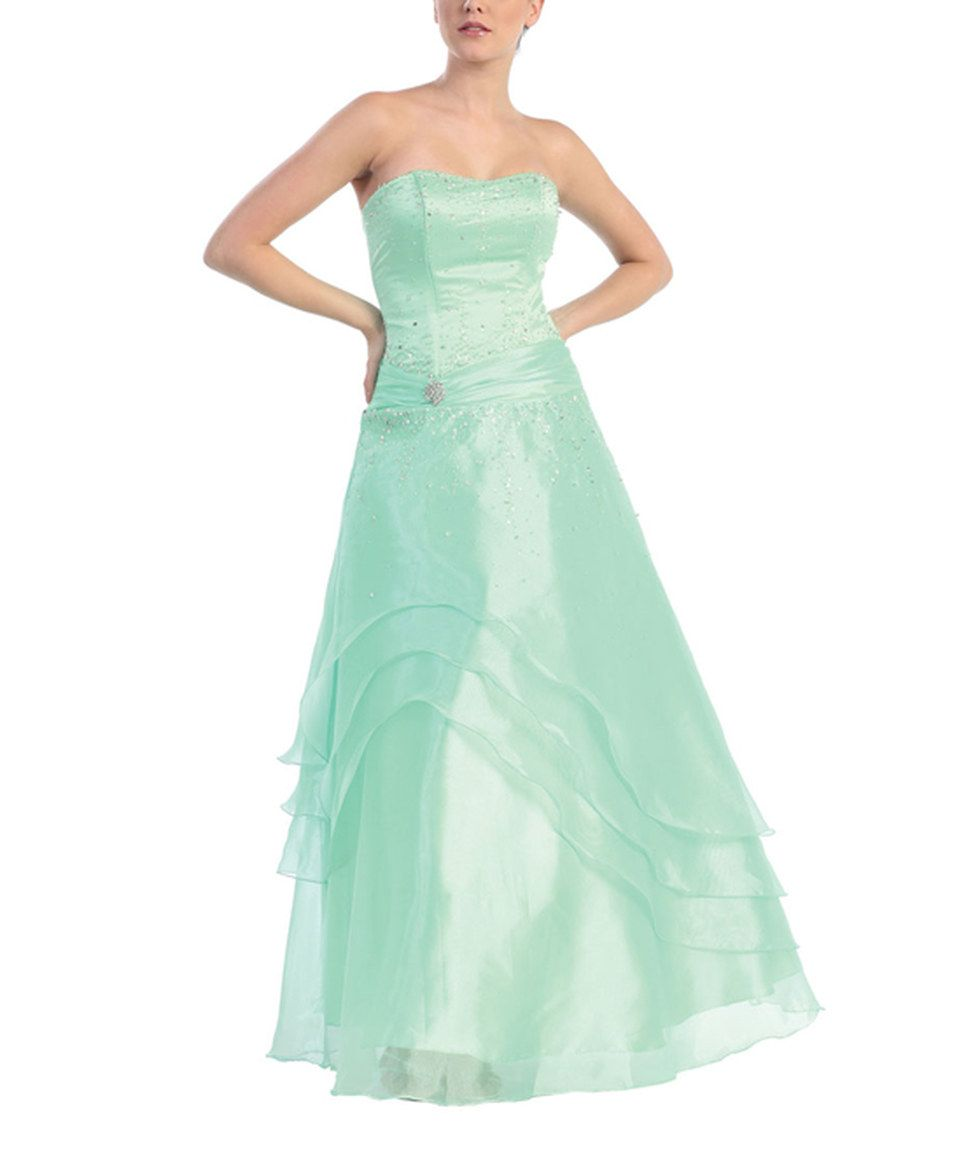 Take a look at this may queen mint strapless assymetricaloverlay