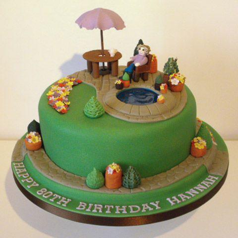 garden scene birthday cake