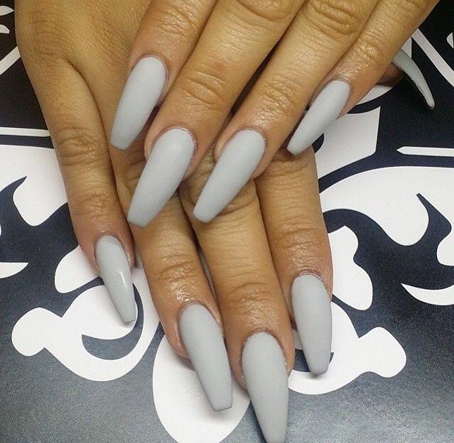 Pin By A S H L E Y On Nails Grey Acrylic Nails Coffin Nails Long Grey Matte Nails