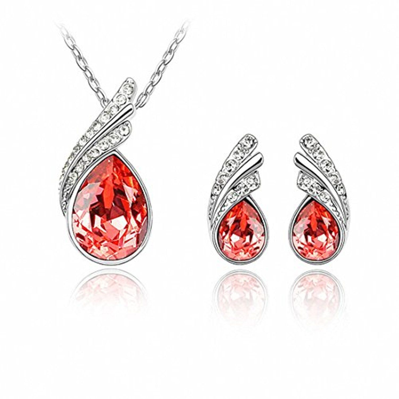 Lily Jewelry Elegant Blue Flower Swarovski Elements Crystal & Rhinestone Stud Earrings For Women 6Qq5QR2