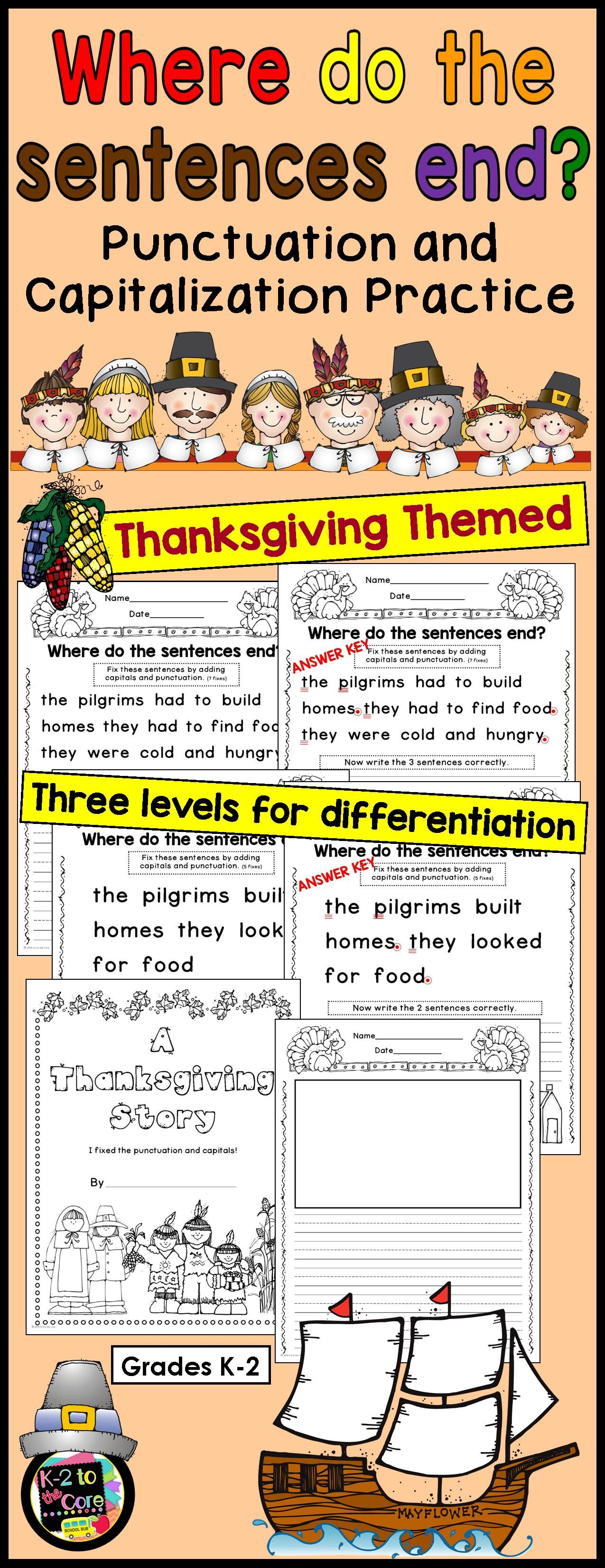 Thanksgiving Writing Punctuation Amp Capitalization Where Do The Sentences End