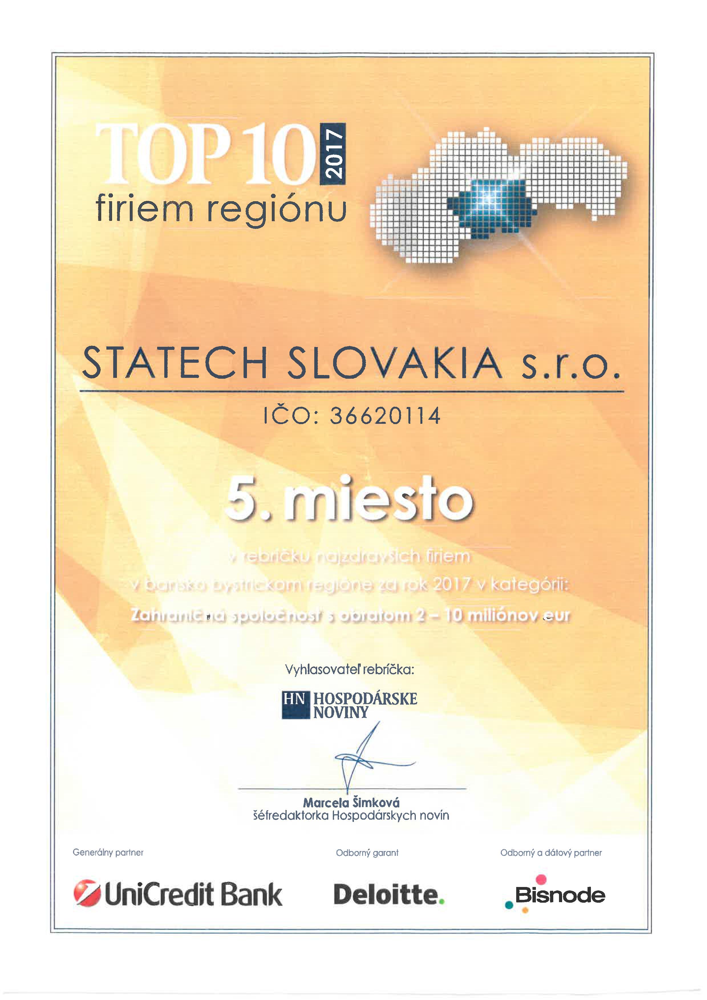 e6e91a939 Máme veľkú radosť z umiestnenia v rebríčku TOP 10 najzdravších firiem v  bansko bystrickom regióne za rok 2017. Ďakujeme všetkým naším zákazníkom za  ...