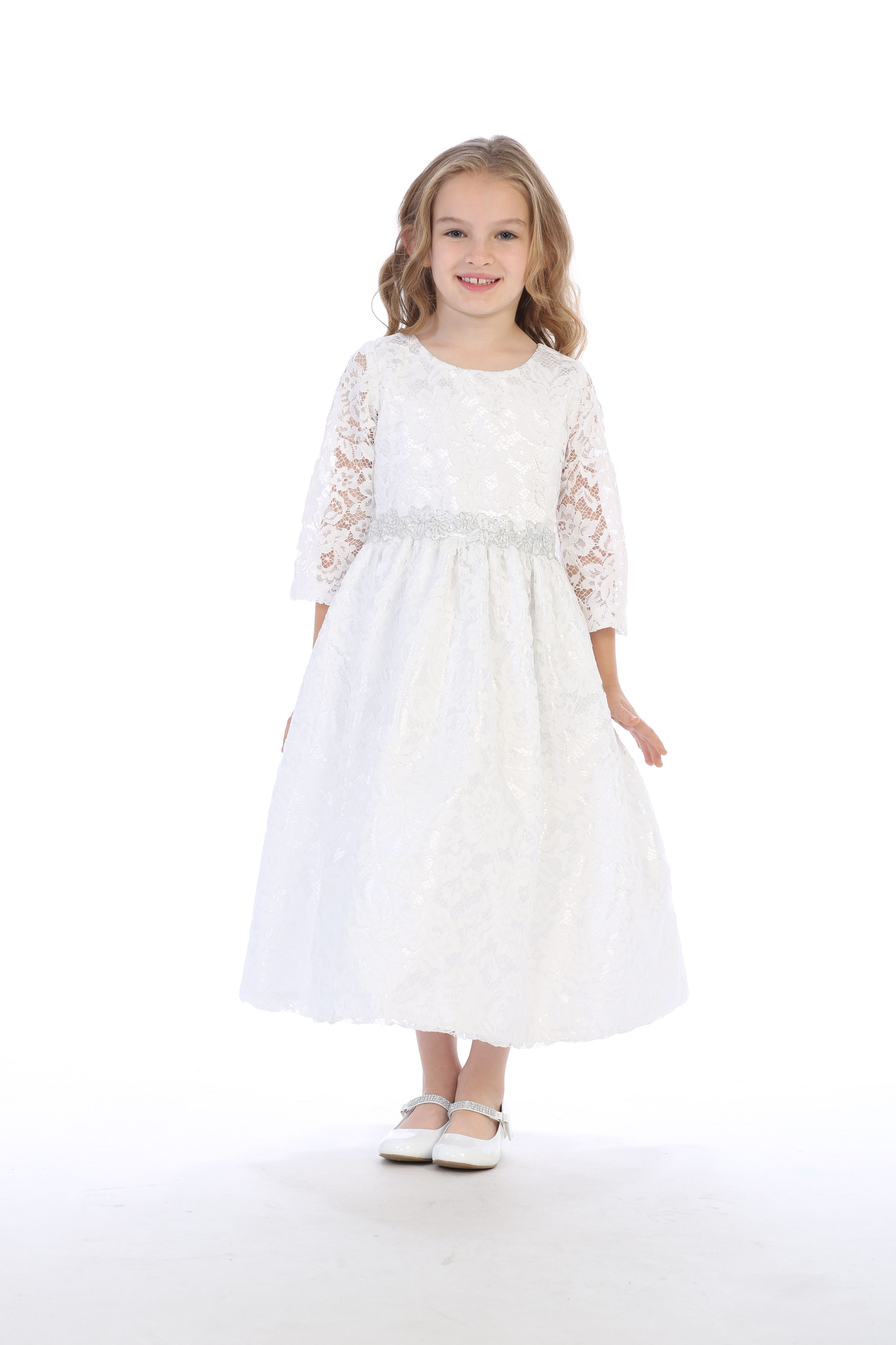 White Flower Girls First Communion Dress Lace 3 4 Sleeve Easter Wedding Party Communion Dresses Lace Girls First Communion Dresses Prom Dress Short Lace [ 5760 x 3840 Pixel ]