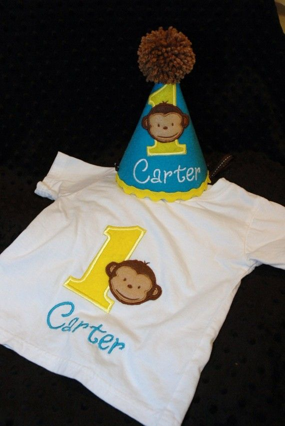 Modern Monkey Boy 1st First Birthday Hat And Shirt Combo Set