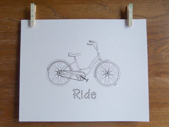 'Ride' Hand-Lettered Vintage Style Bicycle Print by Snazzy Turtle Designs, $18.00