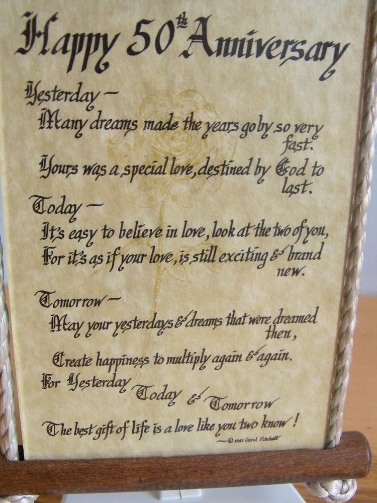 Happy 50th Anniversary Poem Under Glass Wood Wall Hanging Sign Happy 50th Anniversary 50th Anniversary Wishes 50th Anniversary Quotes