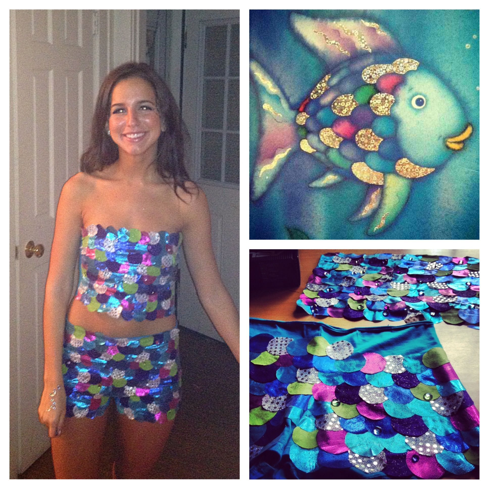 Myself in my rainbow fish halloween costume i made most for Rainbow fish costume
