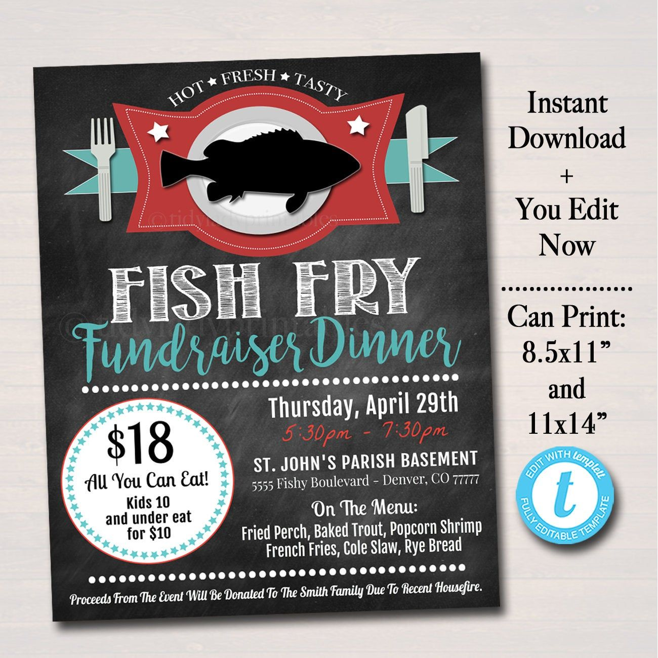 Editable Fish Fry Flyer Printable Pta Pto Flyer Benefit Etsy Fun Fundraisers Charity Work Ideas Fried Fish Free fish fry flyer template