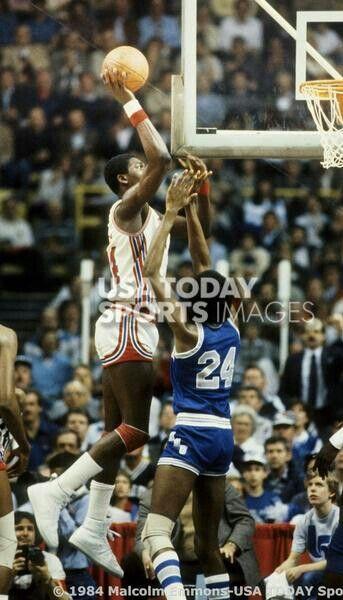 Akeem Olajuwon and Keith Lee (Memphis State)