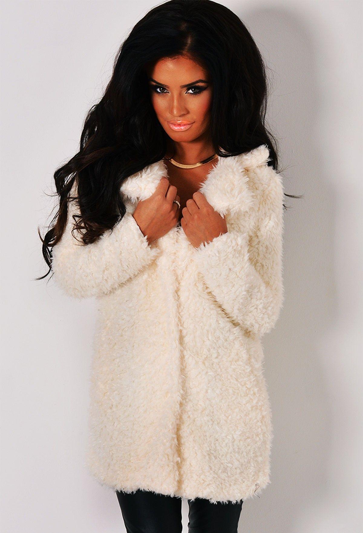 Winter Wonderland White Fluffy Faux Fur Coat | Pink Boutique | Zip ...