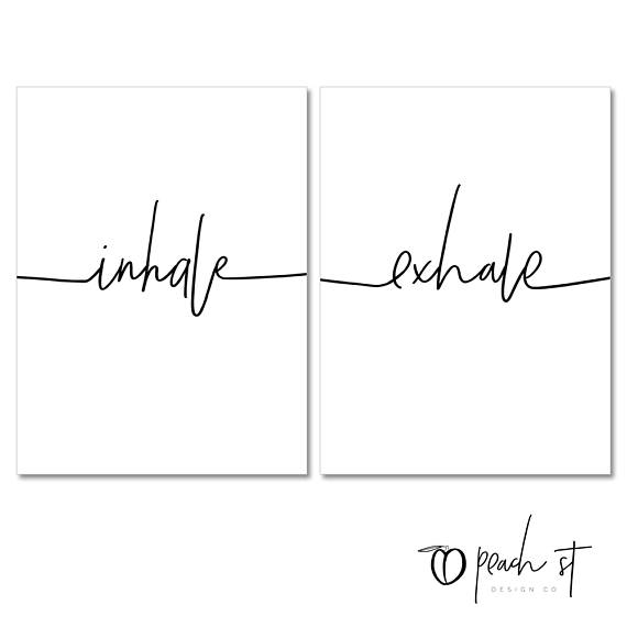 Inhale Exhale, Typography Print, Lettering, Printable Quote, Black and White Wall Art, Yoga, Meditation, Yoga Studio Decor, Digital Download #inhaleexhaletattoo