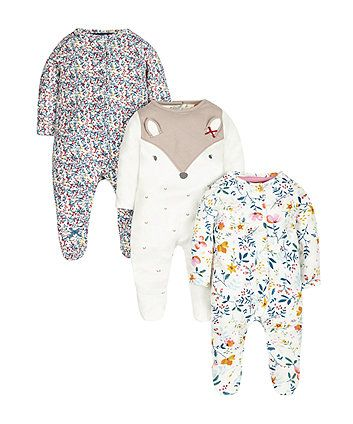 Pretty Forrest Sleepsuits 3 Pack Baby Girl Pajamas Baby Girl Clothes Baby Girl Fashion