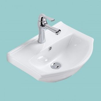 Small Wall Mount White Bathroom Sink Single Faucet Hole ...