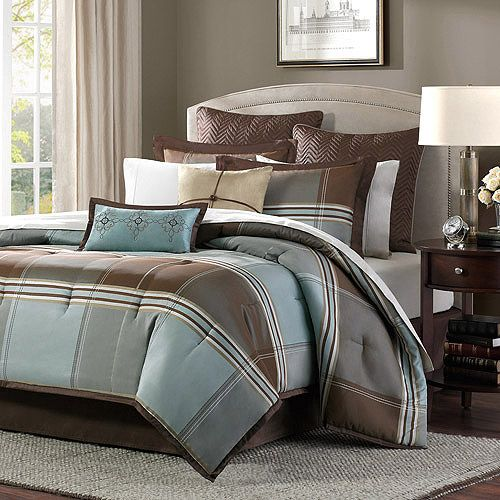 Home essence daniel 8 piece comforter set blue brown for Brown and blue bedroom ideas