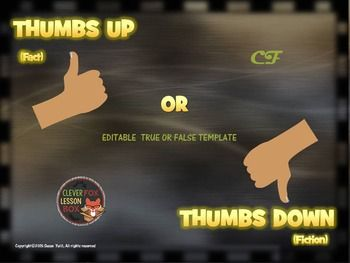 True Or False Fact Or Fiction Powerpoint Game Template Thumbs Up