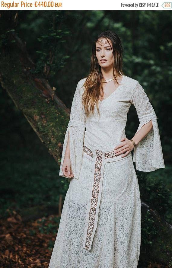 On Celtic Handfasting Wedding Dress Sleeved Woodland Custom Made Pagan Simple