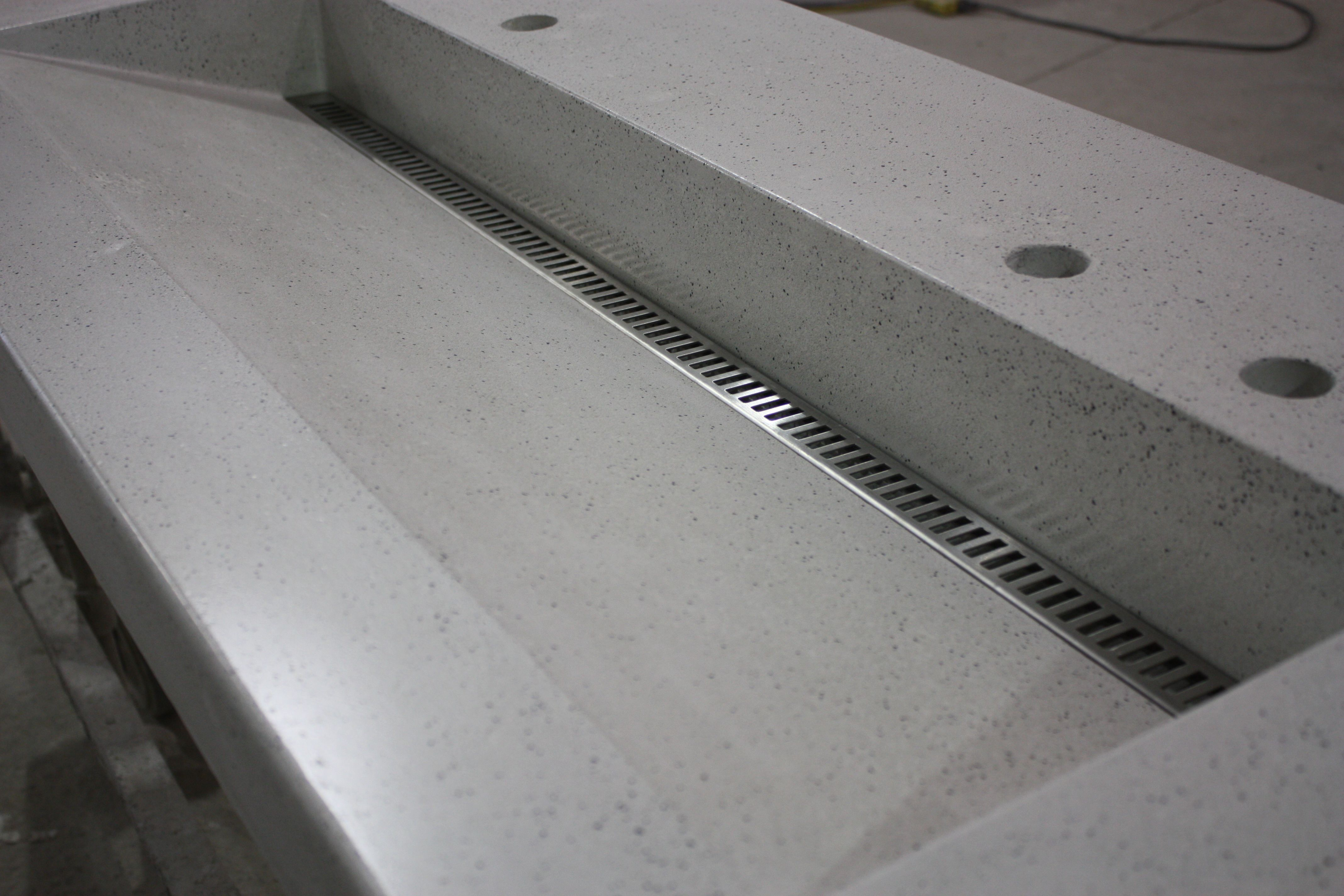 Slot Drain Trough Sink With A Stainless Linear Drain Cover With