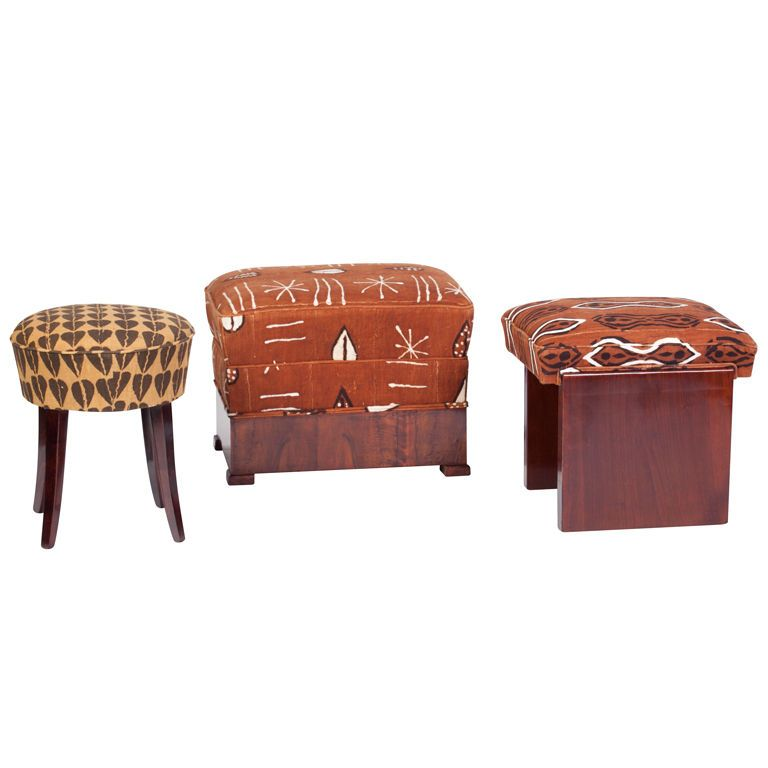 Art Deco Footstools With African Motif Mudcloth African Home