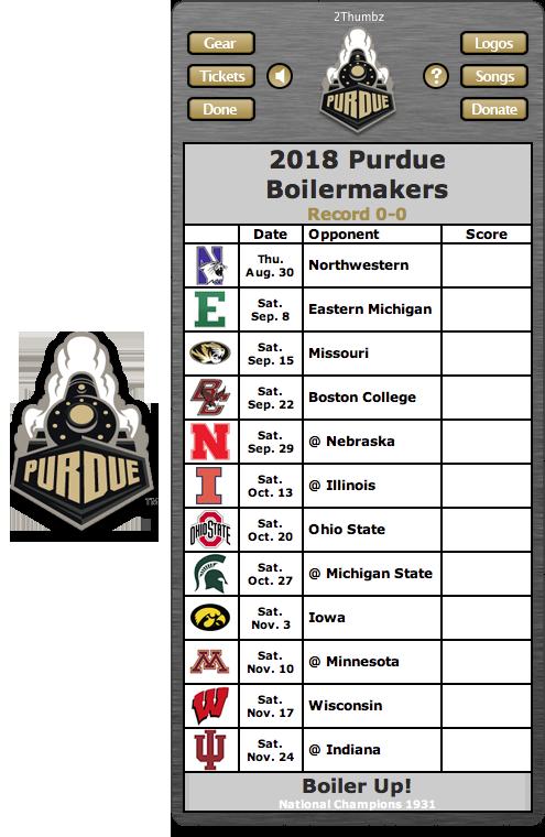 Get your 2018 Purdue Boilermakers Football Schedule App
